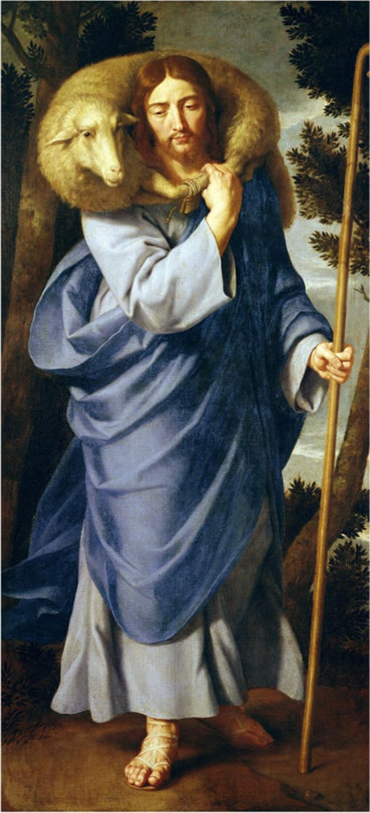 Depiction of the Good Shepherd by Jean-Baptiste de Champaigne showing the influence of this parable.
