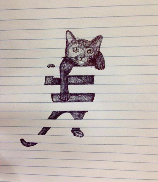 Cat on lined paper. It looks like it's stuck in window blinds!