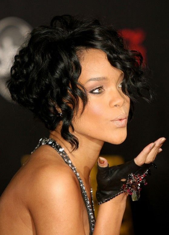Curly Hairstyles   Celebrity curly stacked bob hairstyles-Always loved Rihanna's hairstyles