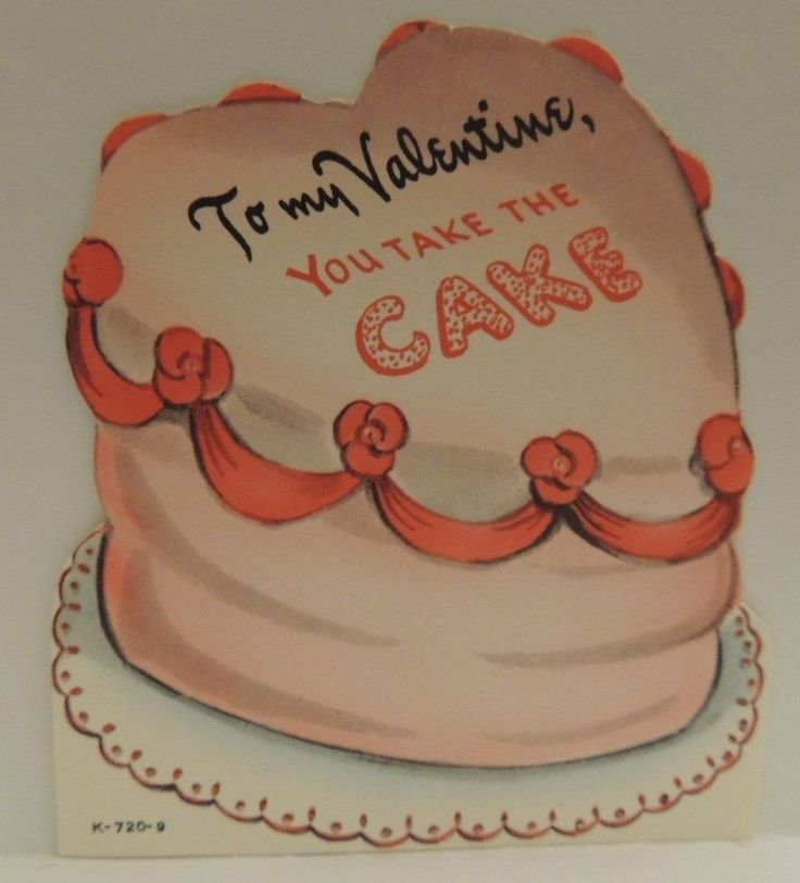 #235 PINK FROSTED CAKE DIE CUT ~ CLEVER WORDS VINTAGE VALENTINE CARD * UNUSED *