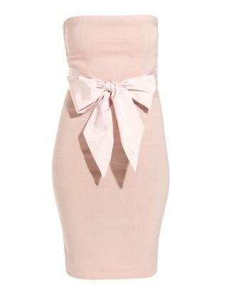 Nude Bandeau Bow Dress