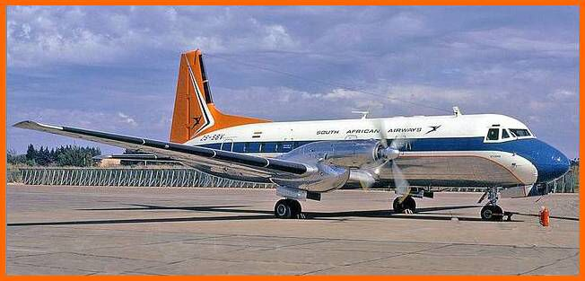 Hawker Siddeley 748 turboprop airliners which were used on South African Airways shorter routes between 1970 - 1983