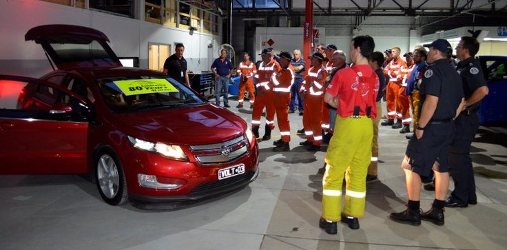 CFA and SES members receive training on being a first responder at a motor vehicle accident involving an electric or hybrid car.