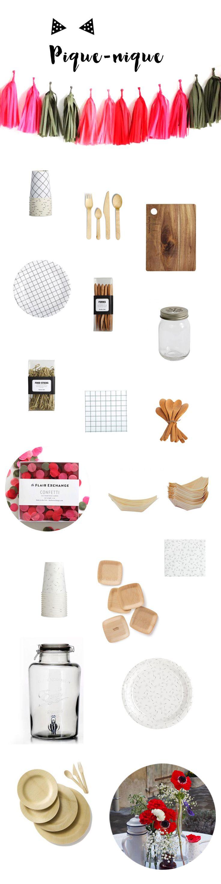 Vaisselle et accessoires pour un pique nique chic sur l'herbe, à retrouver sur www.rosecaramelle.fr  #picnic #piquenique #bucolique #champetre #rustique #carreaux #kraft #bois #couverts #pailles #masonjars #paniers #vaisselle
