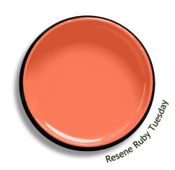 Resene Ruby Tuesday is a tender apricot orange, good on any day of the week. Try Resene Ruby Tuesday with watery cerulean blues, summer greens or soft orange reds, such as Resene Sea Crest, Resene Freelance or Resene Fugitive. From the Resene The Range fashion colours 18. Latest trends available from www.resene.com/range18. Try a Resene testpot or view a physical sample at your Resene ColorShop or Reseller before making your final colour choice.