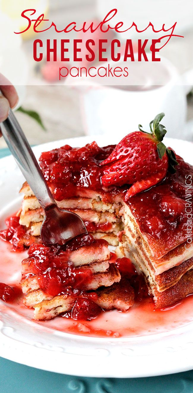 Easy Strawberry Cheesecake Pancakes = cheesecake filling + pancake dry ingredients + fresh strawberry syrup = cheesecake for breakfast! #cheesecake #pancakes #strawberry #strawberrypancakes