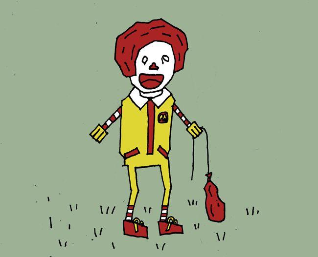 Sad Ronald McDonald in a field