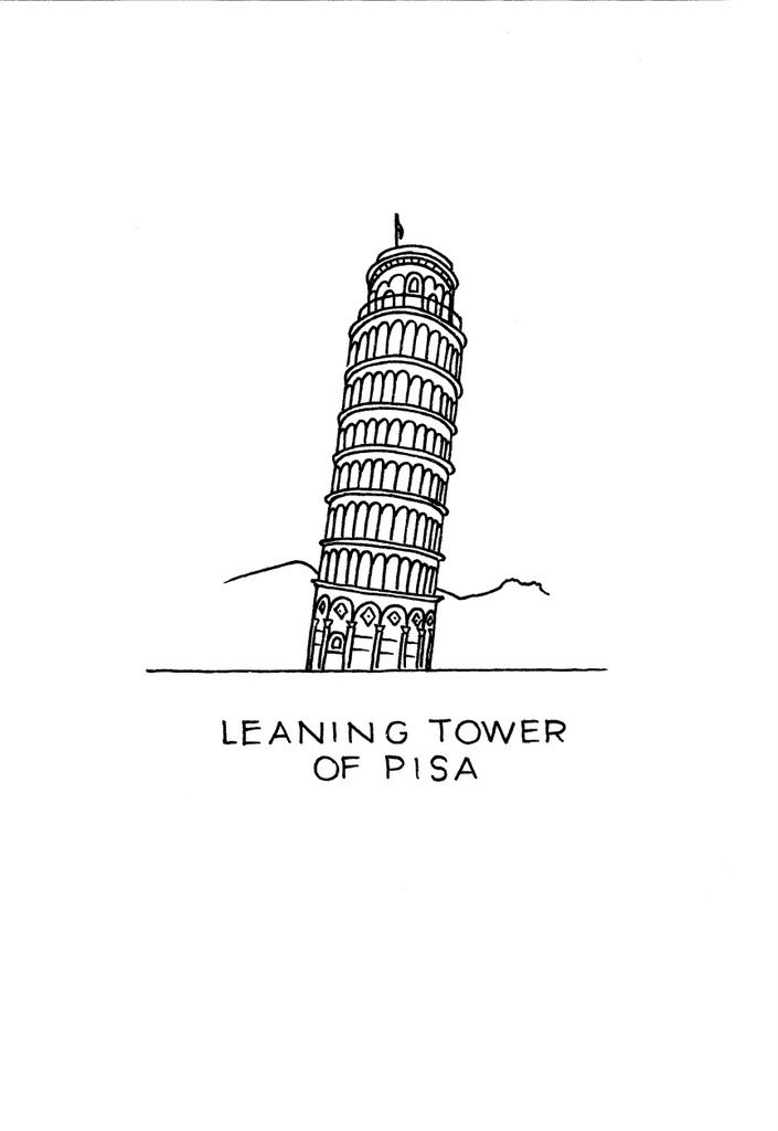 The Leaning Tower of Pisa art print. Click on the image to see it in my Etsy shop right now! #DrawTheGlobe #poster #design #drawing #art #minimalist #Pisa #architecture #ink #black_and_white #buildings #etsy