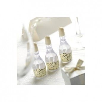 Bolle di sapone a forma di bottiglia di champagne avorio 24 pezzi