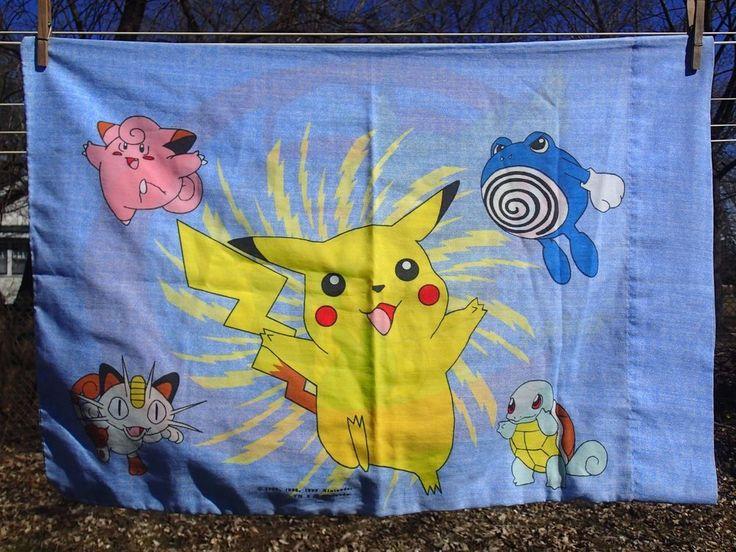 Pokemon Standard Pillowcases Blue Nintendo 1995 Ash Pikachu Bedding Set of 2 #Nintendo