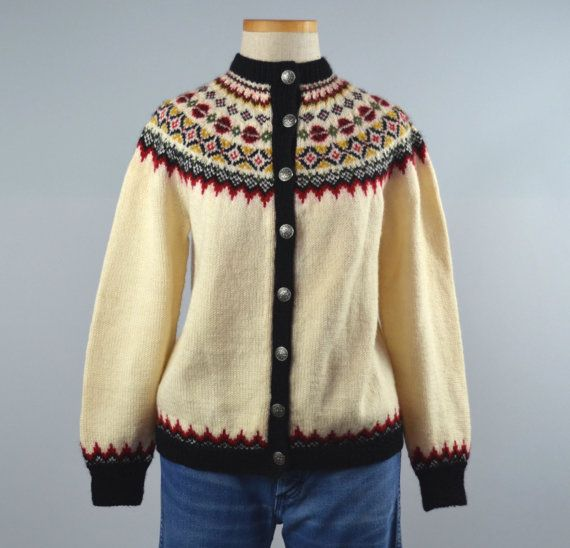 Bergenskofter | Vintage 60s Nordic Fair Isle Cardigan | 1960s Hand Knit Wool Sweater by RevengeOfTheDress, $54.00
