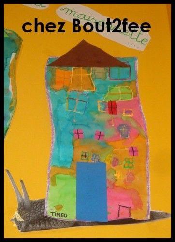 Petit escargot porte sur son dos sa maisonnette cole for Je dessine ma maison