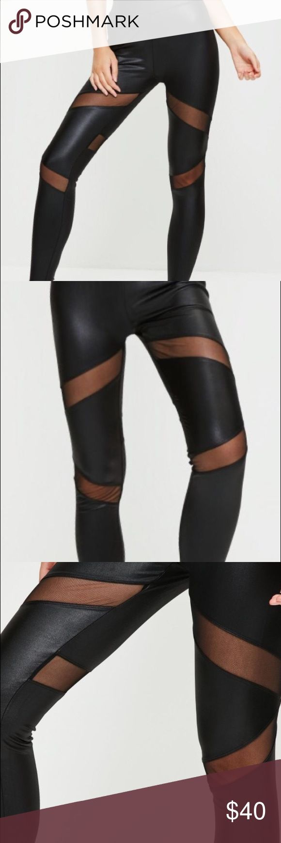 NWT BLACK MESH SLASH CUT OUT WET LOOK LEGGING YOGA NWT these wet look leggings with mesh insert details are so sexy they will have you forgetting that you are working out and thinking you are just there to slay. Full leg length. Regular fit. Made of mixed fibers and machine washable! Missguided Pants Leggings