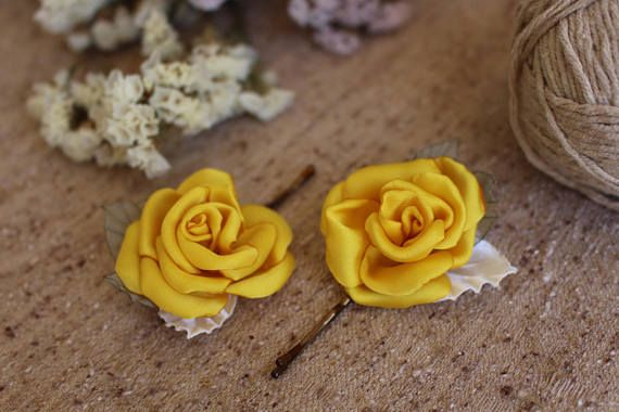 Yellow rose hair bobby pin,bright yellow rose hair pin,Bridal Bridesmaid Flower Hair Pins,Wedding hair bobby pin,Woman girl Rose hair pins