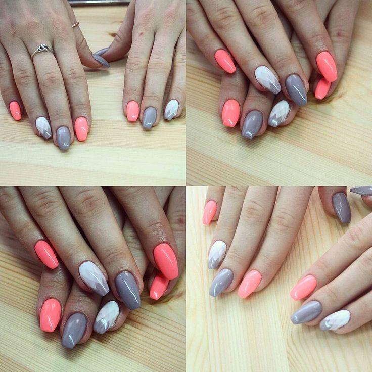 Geometryczne ombre na paznokciach hybrydowych #piekniejszaty
