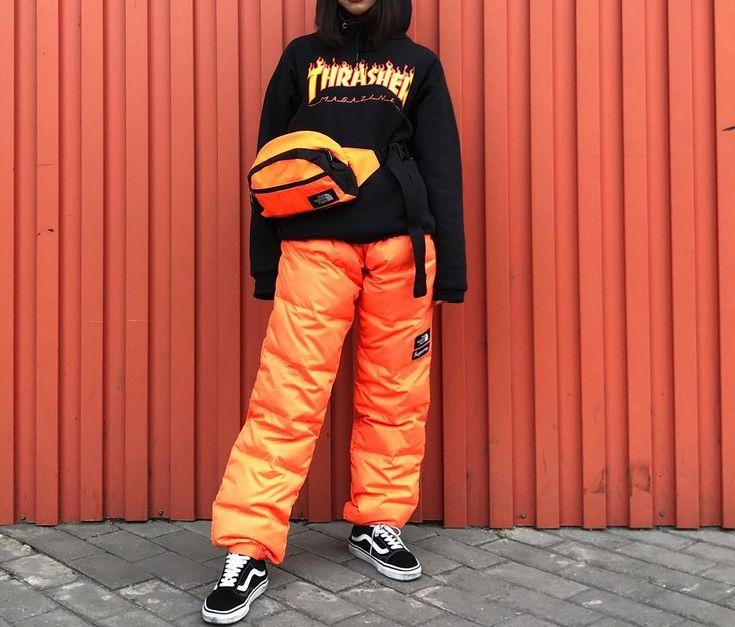 Thrasher Hoodie    Supreme x The North Face Fanny Pack    Supreme x TNF Nuptse Pant (Power Orange)    VANS Old Skool