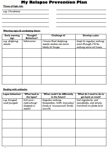 webiteback:  Relapse Prevention Plan - Worksheet