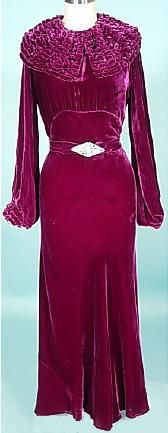 1930s open sleeves plum silk velvet dressing gown.