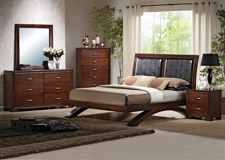 Dramatic Espresso Finish Queen Size Contemporary Platform Bed Bedroom Style Furniture
