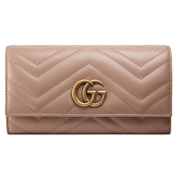 Women's Gucci Gg Marmont Matelasse Leather Continental Wallet (213.935 HUF) ❤ liked on Polyvore featuring bags, wallets, porcelain rose, shopping bag, leather shopper handbags, genuine leather wallet, gucci wallet and brown bag