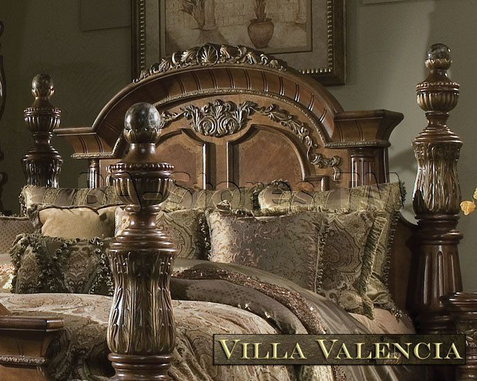 Michael Amini Excelsior Collection Bedroom | Villa Valencia Classic  Chestnut Bedroom Set By Michael Amini....A REAL GOOD CLOSE UP OF THE 4 POST  BEDu2026