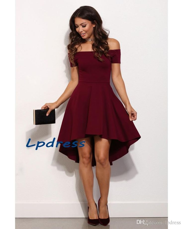 free shipping, $70.44/piece:buy wholesale  off the shoulder burgundy cocktail dresses zipper back elastic satin hi-lo party dresses sexy burgundy party dresse 2016 spring summer,reference images,custom made on lpdress's Store from DHgate.com, get worldwide delivery and buyer protection service.