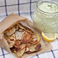 Homemade Potato Chips and Avocado Ranch Dip by KarinPotatoes Chips, Homemade Baking, Homemade Chips, Baking Potatoes, Ranch Dips, Avocado Ranch, Homemade Potatoes, Avocado Dips, Greek Yogurt