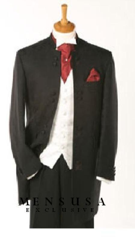 SKU# GG8B Quality Black Mandarin Collar Tuxedo Suit Light Weight + Any Color Vest 295 | MensITALY  Price: US $295