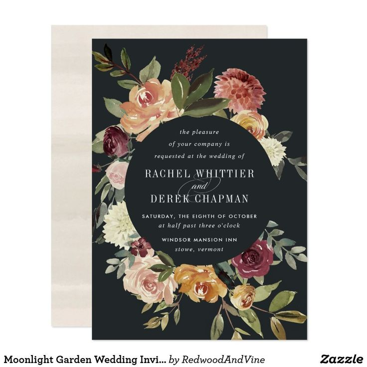 best places to get wedding invitations online%0A Moonlight Garden Wedding Invitation Chic floral wedding invitations or fall  or winter weddings feature your details encircled by watercolor roses