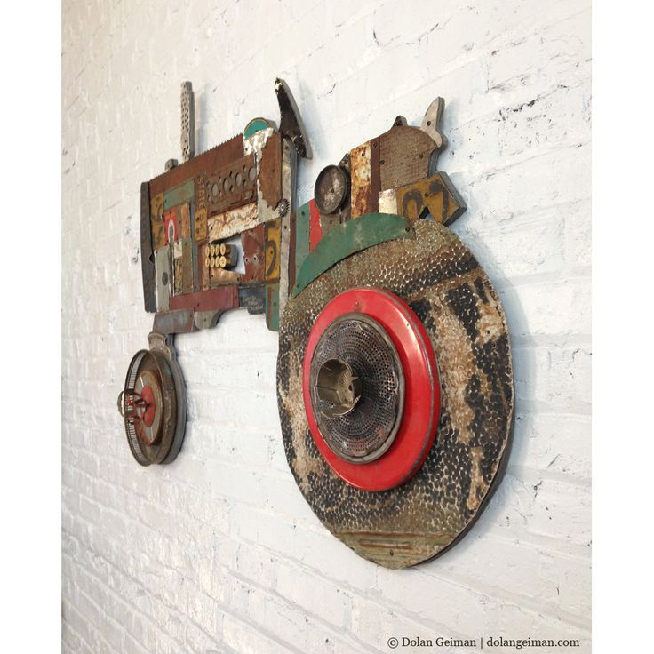 Metal Tractor Wall Sculpture, Unique Fireplace Mantlepiece Decor, Rustic Upcylced Farmhouse Art,