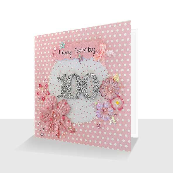 100th Birthday Card : Shabby Chic Hand Finished, Unique Greeting Cards Online, Buy Luxury Handmade Cards, Unusual Cute Birthday Cards and Quality Christmas Cards