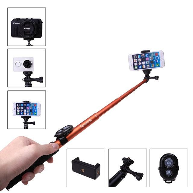 "Extendable Waterproof Go pro Wireless Bluetooth Remote Camera Shutter Selfie Stick 39"" Monopod"