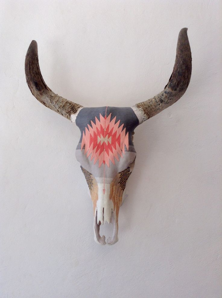 Sweet Horizon - Wall decor. Yarn painted cow skull. Mexican geometric motif. Feather tears. Ombre fade
