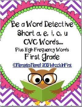 FREEBIE sample of my:  Be a Word Detective Short a, e, i, o, u CVC Words...