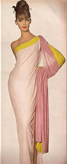 Jean Shrimpton wearing pink chiffon jersey gown by Madame Gres