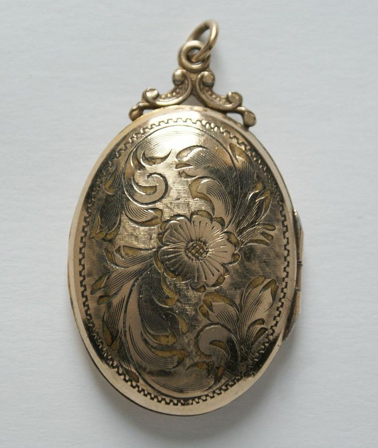 #2881 PTS Gold Filled Etched Oval Pendant Locket Exclusively at Lee Caplan Vintage Collection on RubyLane