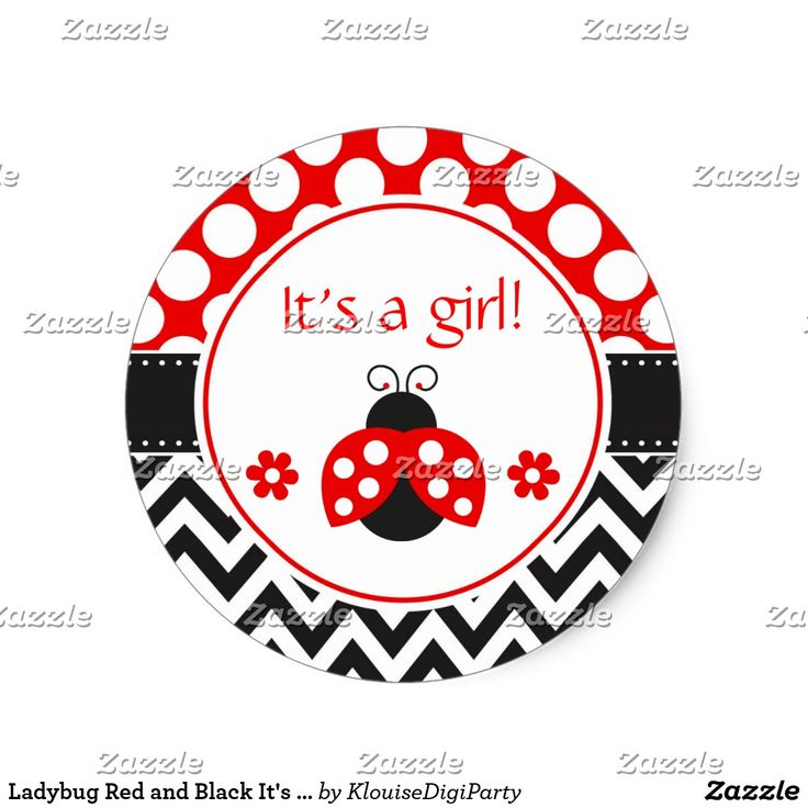 Ladybug Red and Black It's A Girl Classic Round Sticker