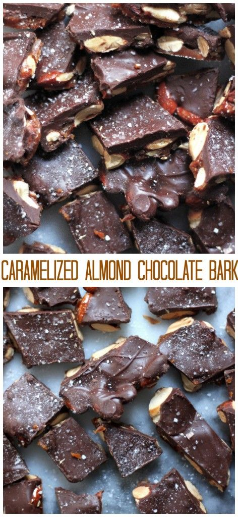 Caramelized almond chocolate bark is 100% my favorite treat to make – and gift – this time of year. It's so simple and deliciousthat it's pretty much IMPOSSIBLE to resist.