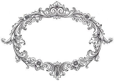 Clip Vintage Art - Marco de lujo Oval - los gráficos de hadas