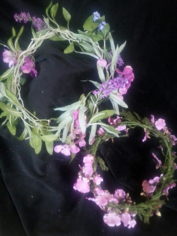 Floral fairy wreaths. Pink hues, delicate leaves or moss.  $12