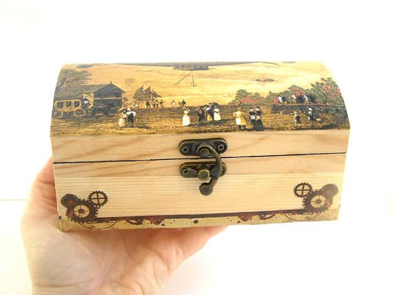 For man jewerly box, antique airship balloon  #men'sjewelryboxes #woodjewelrybox #forhim #steampunk