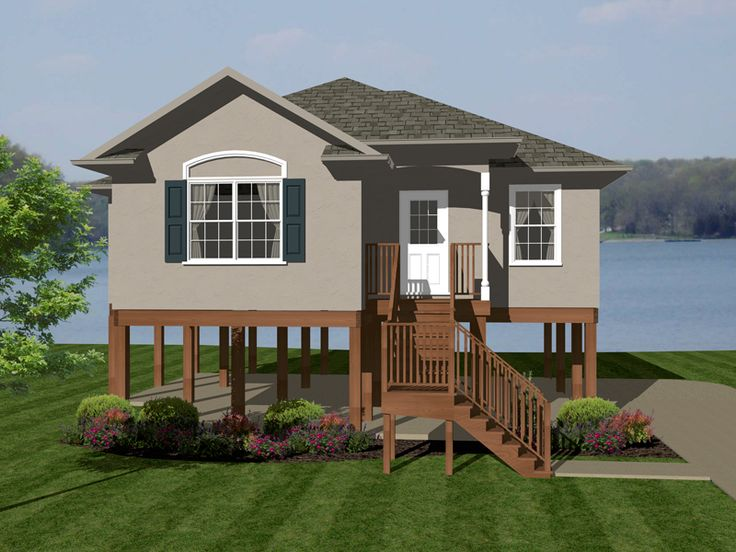 Lilac waterfront ranch home house plans beaches and for Beach house plans on pylons