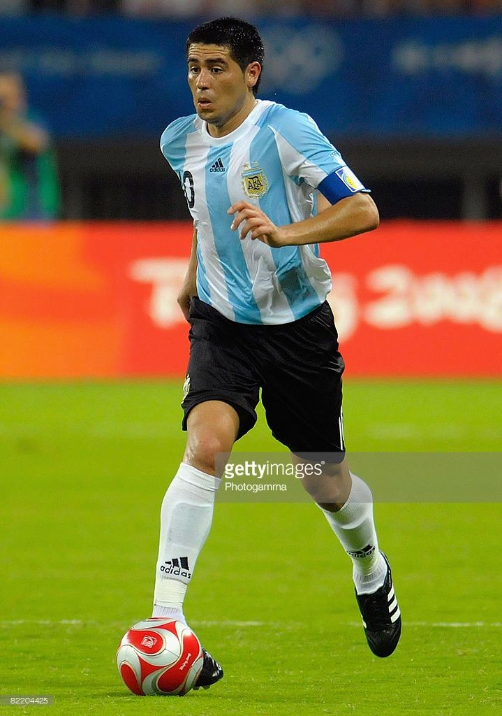 Juan Riquelme of Argentina controls the ball during Men's Group A match between Ivory Coast and Argentina on Day -1 of the Beijing 2008 Olympic Games on August 7, 2008 in Shanghai, China.