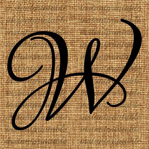 Monogram Initial Letter W Letter Clip Art Letter Decal