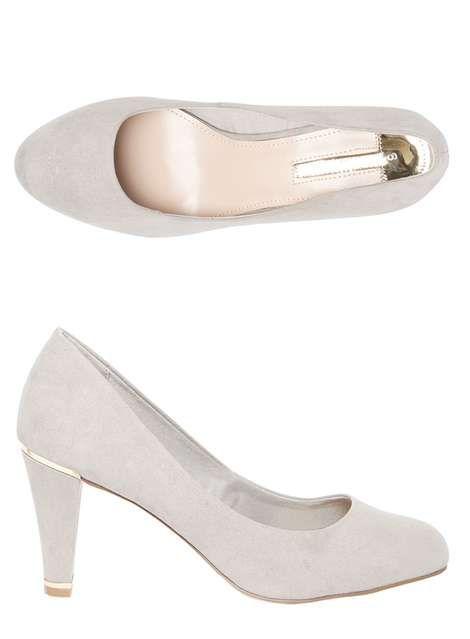 Grey 'Emma' Metal Court Shoes #shoes #grey #dorothyperkins