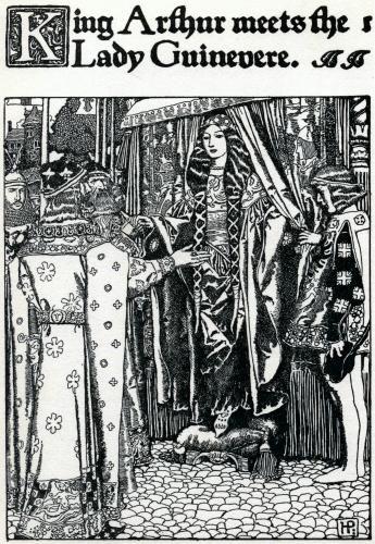 King Arthur meets Lady Guinevere- Howard Pyle