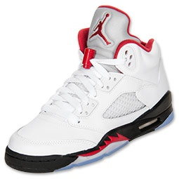 Inspired by Michael Jordan's continued flight status and a WWII fighter plane, the Air Jordan V was another custom Tinker Hatfield tinkered to perfection. With another scoring title under his belt and a 69 point outbreak against the Cavaliers, Jordan needed a shoe that would live up to his elevated game.   1990 proved to be a good year, Michael's aerial attack inspired the WWII Spitfire flames on the V's. This shoe introduced a padded tongue displaying a continuance of the iconic ju...