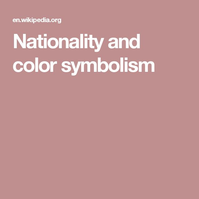 Nationality and color symbolism