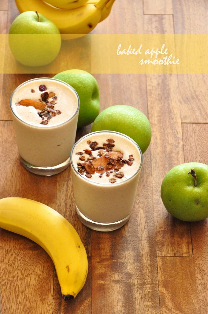 {Baked Apple Smoothie}  1/4 cup low-fat plain OR vanilla yogurt (your preference)  1/4 cup low-fat cottage cheese  1 large apple, peeled, cored and sliced (I used granny smith)  1 tsp cinnamon  1 cup ice  1/3 cup water  Large handful spinach (optional)  Stevia or honey to taste (I used about 1/4 packet of stevia)