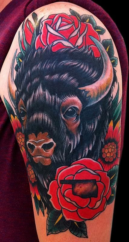 25 best ideas about oklahoma tattoo on pinterest for Traditional bison tattoo
